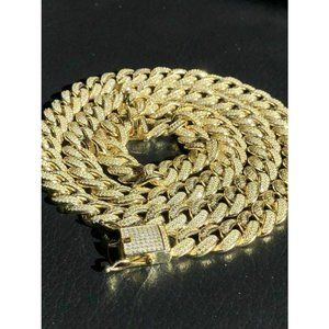 HarlemBling 14k Gold & Solid 925 Silver 12mm Chain